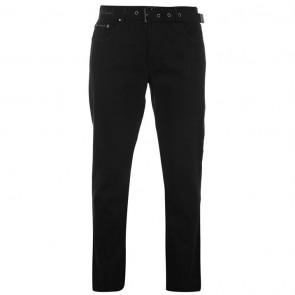 Pierre Cardin Web Belt Mens Jeans - Solid Black.