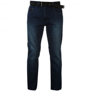 Pierre Cardin Web Belt Mens Jeans - Vintage Blue.