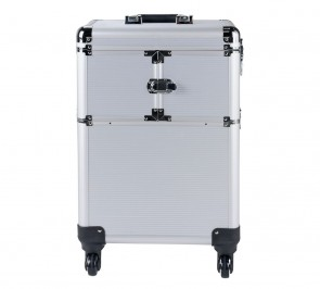 Pretty Pink Large Silver Trolley Vanity Case.