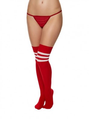 Red Over The Knee Stripe Socks.