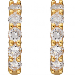 Revere 18ct Gold Plated Silver CZ Creole Hoop Earrings