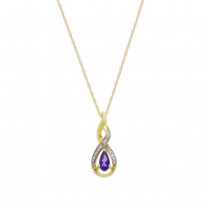 Revere 9ct Gold Amethyst & Diamond Pendant 18 Inch Necklace