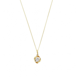 Revere 9ct Gold Cubic Zirconia Knot Pendant 18 Inch Necklace