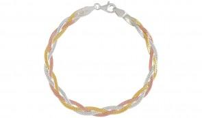 Revere 9ct Gold Plated Braided 3 Colour Herringbone Bracelet