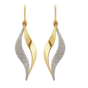 Revere 9ct Gold Plated Silver Glitter Flame Drop Earrings