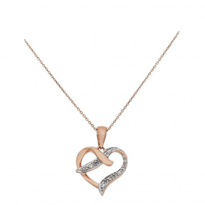Revere 9ct Rose Gold Diamond Accent Pendant 18 Inch Necklace