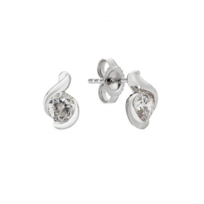 Revere 9ct White Gold Cubic Zirconia Wrap Stud Earrings