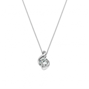 Revere 9ct White Gold Wrap Pendant 18 Inch Necklace
