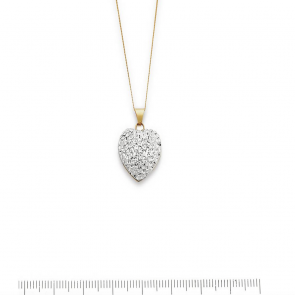 Revere 9ct Yellow Gold Crystal Dome Heart Pendant