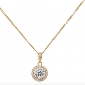 Revere Gold Plated Silver Halo Pendant 18 Inch Necklace