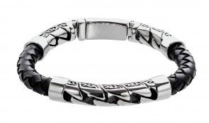 Revere Men's Stainless Steel and Leather Bracelet