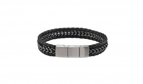 Revere Men's Stainless Steel Chain and Leather Bracelet