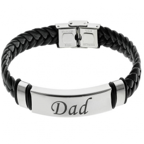 Revere Men's Stainless Steel Leather 'Dad' Bracelet