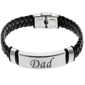 Revere Men's Stainless Steel Leather 'Dad' Bracelet