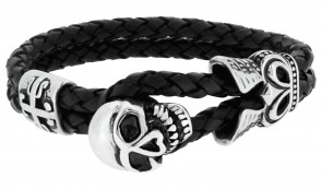 Revere Men's Stainless Steel Skull Leather Bracelet