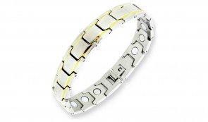 Revere Men's Stainless Steel Two Tone Magnetic Bracelet