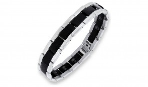 Revere Men's Stainless Steel Two Tone Magnetic Bracelet Black
