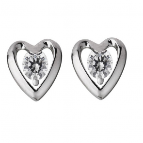 Revere Platinum Plated Silver CZ Heart Stud Earrings