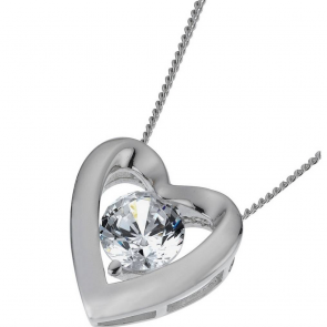 Revere Platinum Plated Silver Heart Pendant 18 Inch Necklace