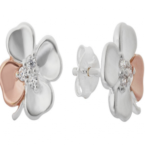 Revere Silver & 9ct Rose Gold Plated Silver CZ Stud Earrings