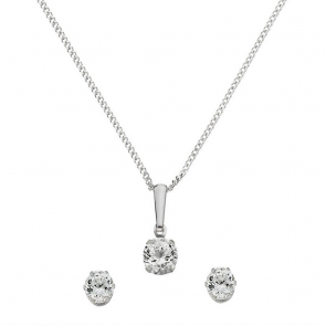 Revere Silver Cubic Zirconia Pendant and Earring Set
