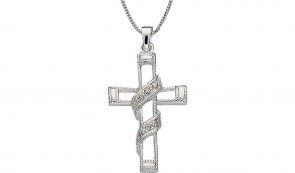 Revere Silver Entwined Cross Pendant 18 Inch Necklace