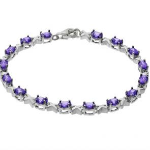 Revere Sterling Silver Amethyst Coloured CZ Kisses Bracelet