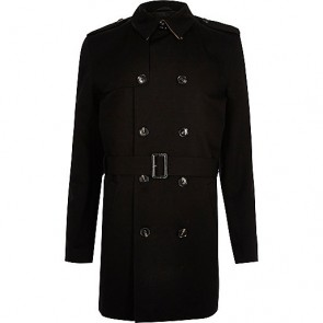 River Island BlackTraditional Water Resistant Mac.