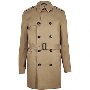 River Island Brown Traditional Water Resistant Mac.