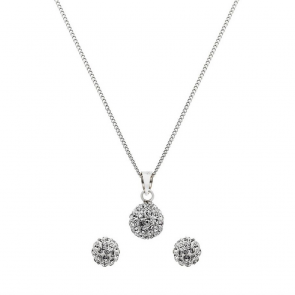 Revere Sterling Silver Crystal Ball Pendant and Earrings Set