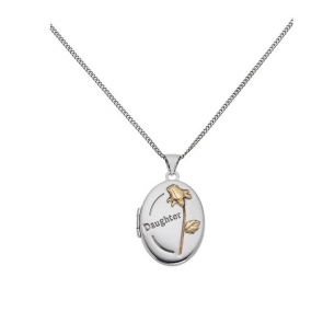 Moon & Back Silver Oval Daughter Locket 18 Inch Necklace