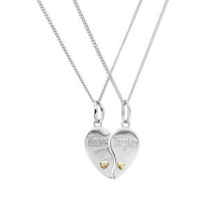 Moon & Back Mother Daughter Pendant 18 &14inch Necklaces