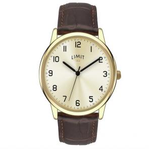 Limit Men's Brown Faux Leather Strap Watch