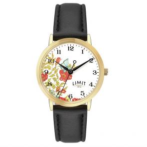 Limit Ladies' Floral Dial Black Strap Watch