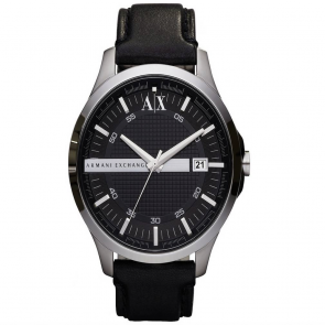 Armani Exchange Men's Black Leather Strap Watch