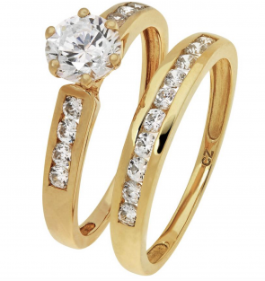 Revere 9ct Yellow Gold 2 Piece CZ Bridal Ring Set