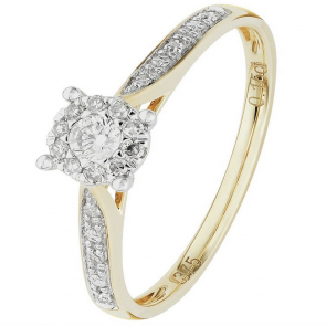 Revere 9ct Yellow Gold 0.15ct tw Diamond Set Shoulder Ring