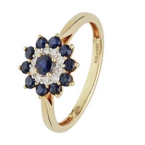 Revere 9ct Yellow Gold Sapphire & 0.10ct Diamond Flower Ring