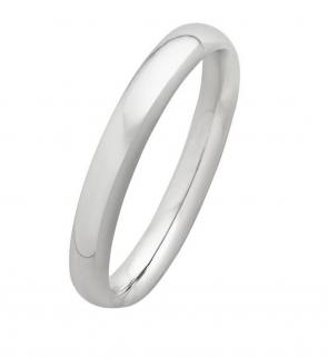 Revere 9ct White Gold D-Shape Wedding Ring - 3mm