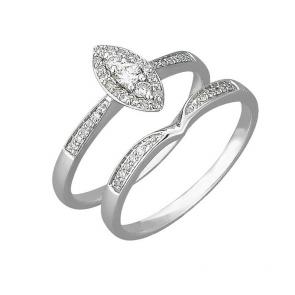 Revere 9ct White Gold 0.25ct tw Diamond Bridal Ring Set