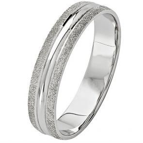 Revere 9ct White Gold Frosted Edge Ring - 4mm
