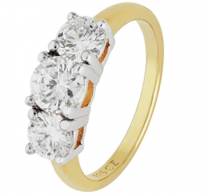 Revere 18ct Gold Plated Silver 1.50ct Look 3 Stone Ring