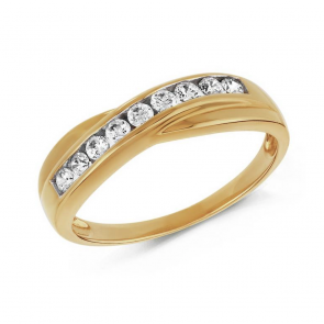 Revere 9ct Yellow Gold CZ Crossover Eternity Ring