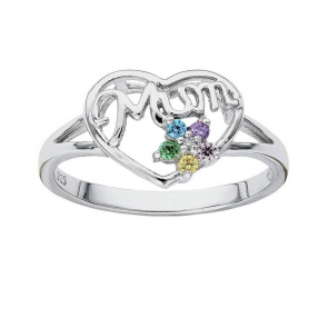 Moon & Back Sterling Silver Flower Mum Cubic Zirconia Ring