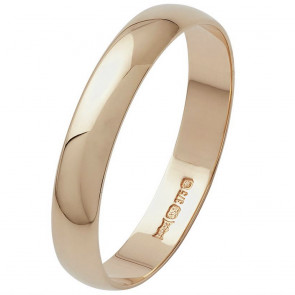 Revere 9ct Yellow Gold D-Shape Wedding Ring - 3mm