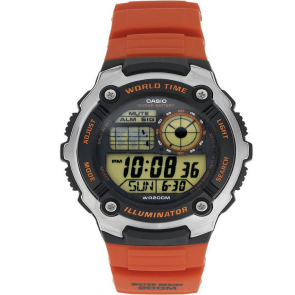 Casio Men's World Time Digital Orange Resin Strap Watch