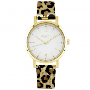 Identity London Ladies Leopard Print Mesh Strap Watch