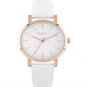 Identity Ladies Rose Gold White Leather Strap Watch
