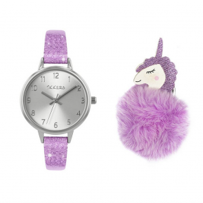 Tikkers Lilac Silicone Strap Watch & Unicorn Pompom keyring