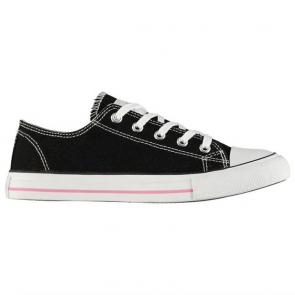 Lee Cooper Canvas Lo Shoes Ladies Black/Pink